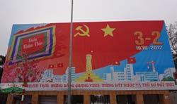 Tranh cổ động mừng sinh nhật Đảng CSVN lần thứ 82 tại Hà Nội. RFA photo