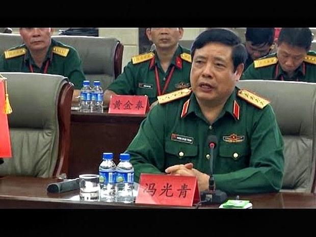 Hàng loạt tướng lãnh và các quan chức cao cấp thuộc Bộ Quốc Phòng của Cộng Sản Hà Nội Trong đó thấy rõ là có cả tướng Thanh đã đặt bảng tên họ theo tiếng Trung Hoa tại bàn hội nghị ngày 15 đến 18/5/2015