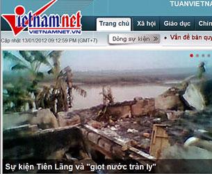 """Sự kiện Tiên Lãng """"Giọt nước tràn ly"""" khi người nông dân bị ép vào đường cùng. Screen capture/Vietnamnet"""