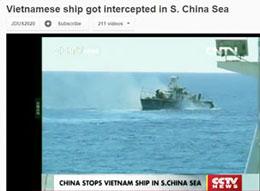 Tàu Trung Quốc chặn đuổi tàu cảnh sát biển của Viêt Nam ra khỏi khu vực lãnh hải của VN ở khu vực quần đảo Trường Sa (tháng 7, 2012). Ảnh chụp trên CCTV của TQ