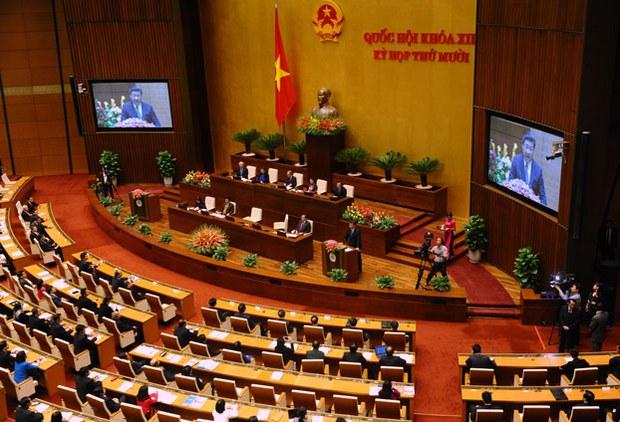 Chủ tịch Trung Quốc Tập Cận Bình phát biểu trước Quốc hội Việt Nam ở Hà Nội vào sáng ngày 6/11/2015.
