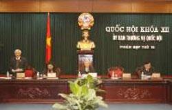 Một phiên họp Ủy ban thường vụ Quốc hội. Photo courtesy of www.na.gov.vn.