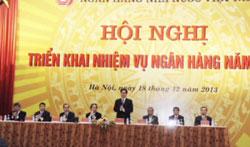 Thủ tướng Nguyễn Tấn Dũng phát biểu tại Hội nghị ngành ngân hàng ngày 18/12/2013 tại Hà Nội. Courtesy sbv.gov.vn