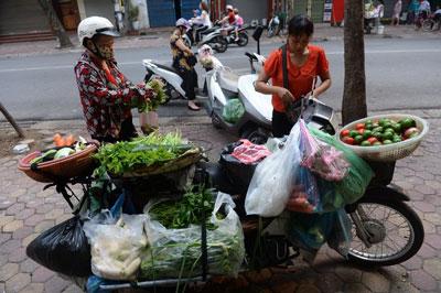 Một người bán rau dạo trên đường phố Hà Nội ngày 05 tháng 9 năm 2016. AFP photo
