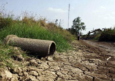 Một con kênh khô cạn ở huyện Long Phú, tỉnh Sóc Trăng, vùng Đồng bằng sông Cửu Long hôm 8/3/2016. AFP photo.