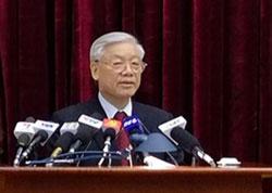 Tổng Bí thư Nguyễn Phú Trọng phát biểu tại Hội nghị Trung ương 8 hôm 30/9. Photo courtesy of chinhphu.vn
