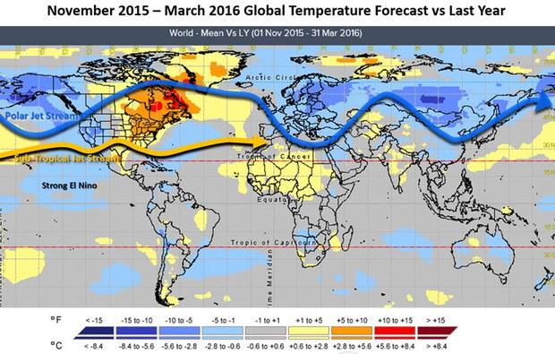 Những bất thường trong nhiệt độ nước biển dọc quanh vùng xích đạo với những vùng nước đại dương ấm trên mức bình thường là dấu chỉ của hiện tượng El Nino