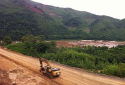 Công trường xây dựng đập Xayaburi tại Lào hôm 03-06-2011. AFP PHOTO.