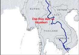 Vị trí đập Xayaburi trên sông Mê Kong