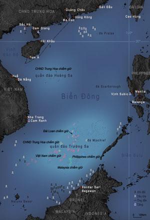 Bản đồ khu vực Biển Đông. (Wikipedia)