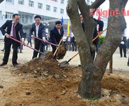 Các lãnh đạo tỉnh Nghệ An trồng cây tại khuôn viên bệnh viện đa khoa.  Truyenhinhnghean