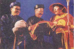 Nghệ sĩ Giang Châu, Nguyên Hanh và Chí Hiếu trong vở Ngao Sò Ốc Hến. Hình của Soạn giả Nguyễn Phương/RFA