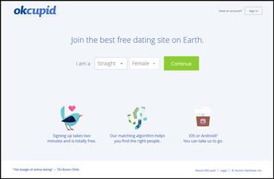 Trang mạng hẹn hò OKCupid. Screen capture.