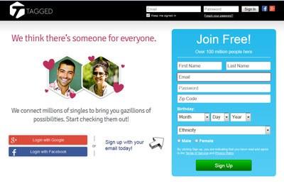 Trang mạng hẹn hò Tagged. Screen capture.