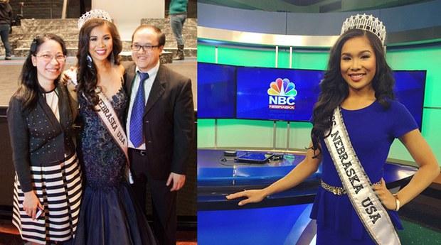 Cô Cung Hoang Kim, miss Nebraska USA 2015 đứng với anh chị, và nơi cô làm việc, phóng viên cho đài truyền hình NBC
