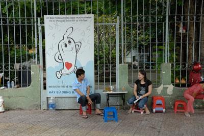 Pano khuyến khích người dân phòng tránh bệnh Aids tại Thành phố Hồ Chí Minh ngày 25/3/2013.