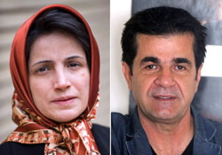 Luật sư Nasrin Soutoudeh (trái) và đạo diễn Jafar Panahi. AFP PHOTO.