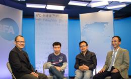 Từ trái anh Kính Hòa, anh Nguyễn Đình Hà, anh Ngô Nhật Đăng, và anh Lê Thanh Tùng tại phòng thu RFA hôm 7 tháng 5, 2014. RFA