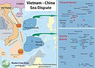 Bản đồ khu vực tranh chấp giữa Việt Nam và Trung Quốc trong Biển Đông.