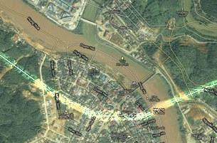 Hình bản đồ vệ tinh của Google cho thấy một phần tỉnh Lào Cai đã nằm trong lãnh thổ Trung Quốc (phía trên đường biên giới đã được tô sáng).