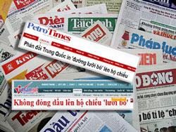 """Báo chí Việt Nam đã đồng loạt phản đối Trung Quốc in hình bản đồ """"đường lưỡi bò"""" lên hộ chiếu. RFA files"""