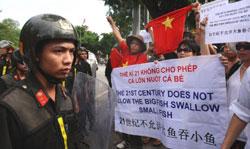 Biểu tình tại Hà Nội 3 tháng 7-2011- AFP photo
