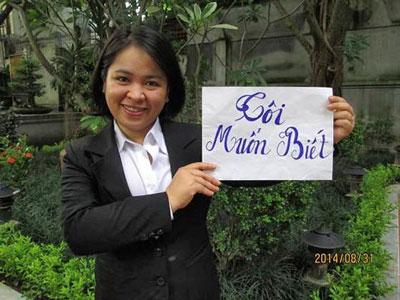Cựu tù nhân lương tâm Đỗ thị Minh Hạnh tham gia phong trào Chúng tôi Muốn Biết ngày 31 tháng 8 năm 2014.