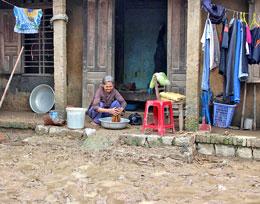 Không thấy một dấu hiệu gì cỏ vẻ Tết tại đa số nhà dân ở xã Hành Tín Tây, huyện Nghĩa Hành, Quảng Ngãi. RFA