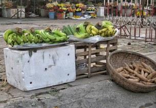Quầy bán chuối bồ hương ở chợ những ngày giáp Tết