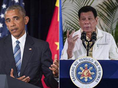 Hai bức ảnh được chụp vào ngày 05 tháng 9 năm 2016 cho thấy, ở bên trái, Tổng thống Mỹ Barack Obama phát biểu trong một cuộc họp báo sau khi kết thúc hội nghị thượng đỉnh G20 tại Hàng Châu, Trung Quốc, và ở bên phải, Tổng thống Philippines Rodrigo Duterte nói trong một báo chí hội nghị tại thành phố Davao, Philippines.
