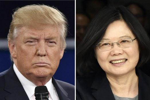 Tổng thống đắc cử Donald Trump (trái) và Tổng thống Đài Loan Thái Anh Văn.