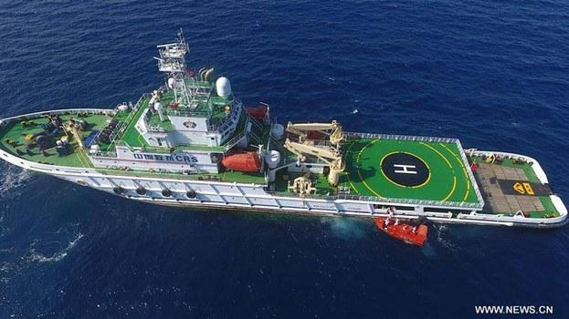 Hình ảnh tàu Nam Hải Cứu 115 diễn tập ở biển Đông đăng trên trang facebook của Nhật báo Nhân Dân ngày 11/07/2017