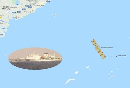 Đường đi của tàu khảo sát Hải Dương ở vùng biển của Việt Nam trong tháng 7/2019