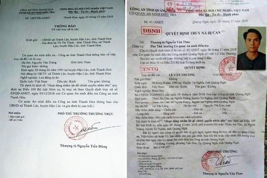 Lệnh truy nã ông Nguyễn Văn Tráng và Lê Thương