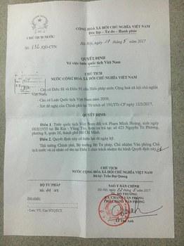 Giấy báo quyết định tước quốc tịch Việt Nam của Giáo sư Phạm Minh Hoàng