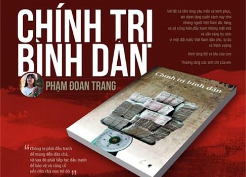 Bìa sách Chính trị bình dân của Phạm Đoan Trang. Sách bị tịch thu ở Đà Nẵng hôm 9/2/2018.