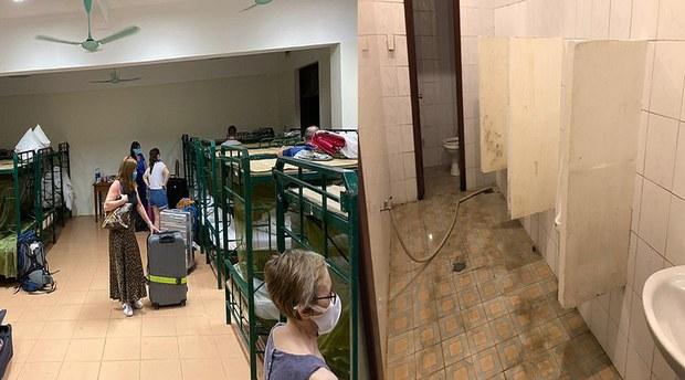Phòng ngủ tập trung và nhà vệ sinh.
