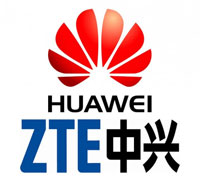 Logo biểu tượng của Huawei và ZTE