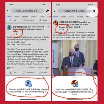 Hình minh hoạ. So sánh hai trang Fanpage của Đại sứ quán Trung Quốc ở Hà Nội và Tổng Lãnh sự quán Trung Quốc ở TP Hồ Chí Minh vào 8 giờ tối giờ Việt Nam