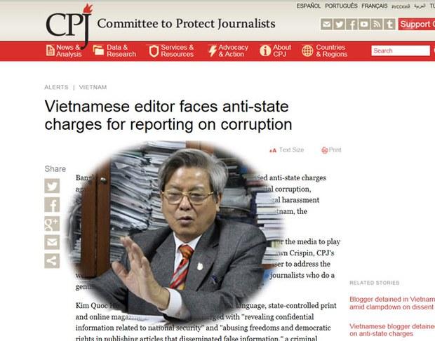 CPJ hôm qua ra thông cáo báo chí kêu gọi Việt Nam bỏ các cáo trạng chống lại ông Kim Quốc Hoa