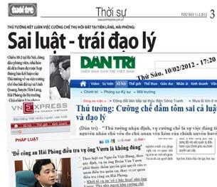 Báo chí lên tiếng về vụ cưỡng chế đất ở Tiên Lãng