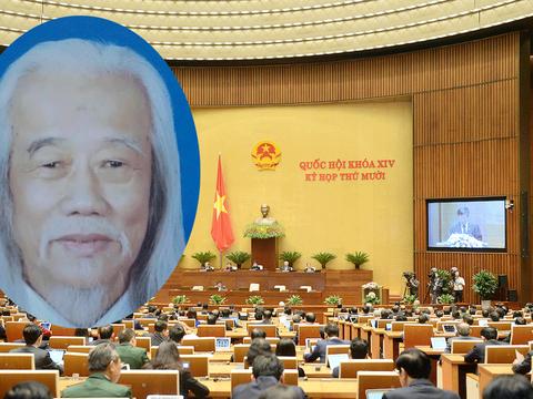 Hình minh hoạ. Giáo sư Nguyễn Đình Cống (trá) và một kỳ họp Quốc hội tại Hà Nội
