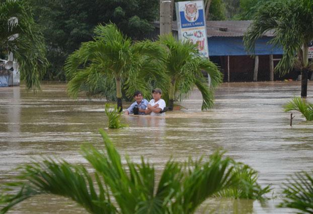 Người dân ở phường Nhơn Phú, tỉnh Quy Nhơn đang chờ cứu hộ hôm 16/11. Photo courtesy of TTO.