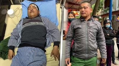 Anh Triệu La Luyện người bán hàng rong bị đánh nhập viện điều trị.