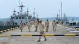 Hải quân Campuchia ở căn cứ hải quân Ream,  tỉnh Preah Sihanouk trong một chuyến thăm cho nhà báo do chính phủ tổ chức hôm 26/7/2019.