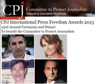 Từ trái sang phải và trên xuống: Nedim Şener, Janet Hinostroza, Bassem Youssef, Nguyen Van Hai