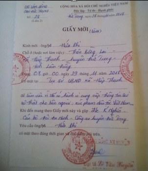 Giấy mời của công an huyện Đức Trọng gửi tới ông Hứa Phi