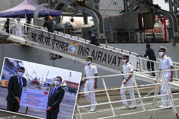Tàu hải quân Ấn Độ chở 300 máy tạo oxy, 100 tấn oxy y tế tặng Việt Nam chống dịch COVID-19