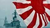Lá cờ của lực lượng tự vệ Hàng hải Nhật Bản (MSDF) phất phới trên các tàu hộ tống Kurama (phải) và Hyuga (trái) đang di chuyển khỏi Vịnh Sagami, tỉnh Kanagawa của Nhật Bản vào ngày 14 Tháng 10 năm 2012