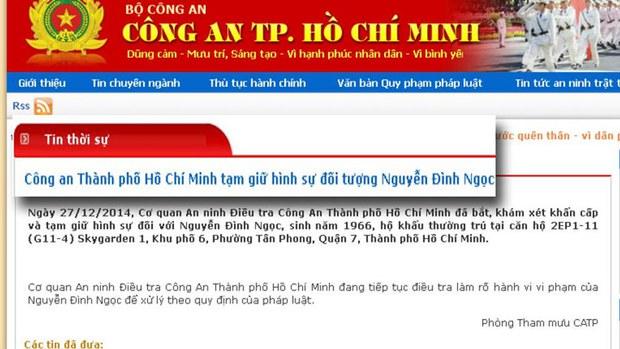 Ảnh chup trang web ngày 28/12/2014 của Công an Thành phố Hồ Chí Minh, loan tin vụ bắt giữ ông Nguyễn Đình Ngọc